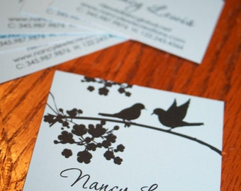 Aqua with Black Birds Calling Cards, Mommy Cards, Business Cards, Square Calling Cards - Set of 60