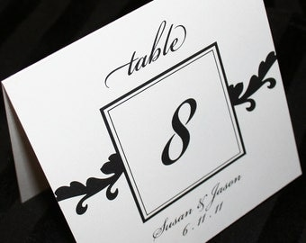 Table Numbers for Wedding or Event - Script Table Numbers, Elegant Black Script Tented Table Numbers