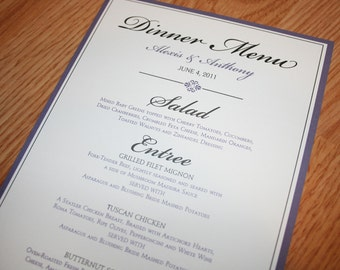 Elegant, Script Wedding Dinner Menus, Elegant Table numbers, Place cards, Formal Menus, Reception Menus