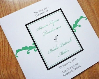 Square Wedding Programs - Small Script Wedding Programs - Green and Black Wedding Programs - 4 Page Programs