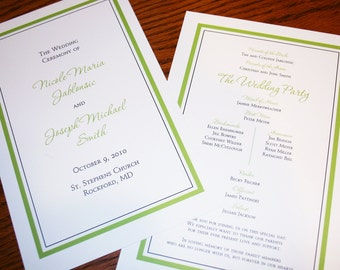 Wedding Programs - Double-Sided Simple and Elegant Wedding Programs - Flat Wedding Programs - Digital File