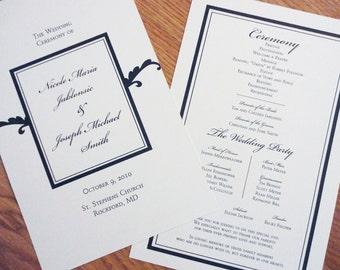 Wedding Programs - Elegant Script Programs - Black and White Programs - Flat Programs - Double Sided Programs