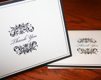 Elegant Thank You Cards - Thank You Notes  - Wedding Thank You Cards - Formal Thank You Cards - Black and White Thank Yous - set of 10