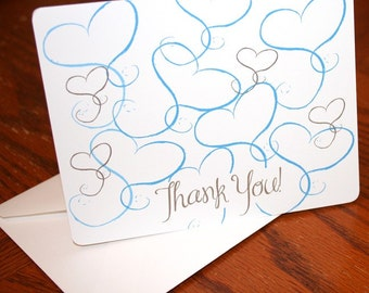 Whimsical Thank You Notes - Wedding Thank You Notes - Everyday Thank You Notes - Hearts Thank Yous - Set of 10