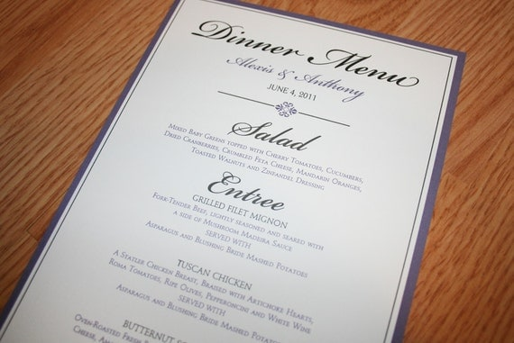 Wedding Dinner Menus and Table numbers - Reserved for Krystyne