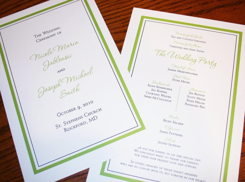 wedding programs double sided simple and elegant wedding
