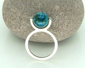 "Sterling Silver ""Globe"" Kinetic Spinning Ring with Chrysocolla UK Size P"