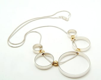 Sterling Silver 'Orbit' Necklace with 18ct Gold detail