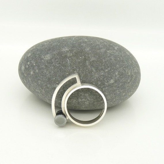 """Sterling Silver """"Diablo I"""" Kinetic Ring in with Oxidised """"Roller"""" UK Size O"""