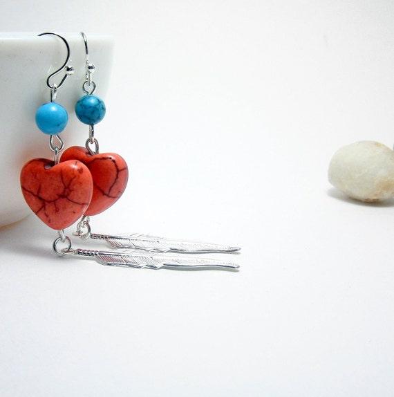 Heart Earrings Lovely Orange and Turquoise