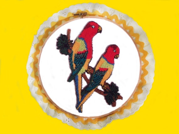 Parrots 3D Punch Embroidery Wall Art Decor in an 8 inch Trimmed Round Wooden Hoop