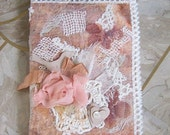 Notebook, journal, needlefelting and mixed media Victorian Peach