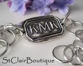 Atelier Bracelet-  Traditional Monogram in fine silver- large link
