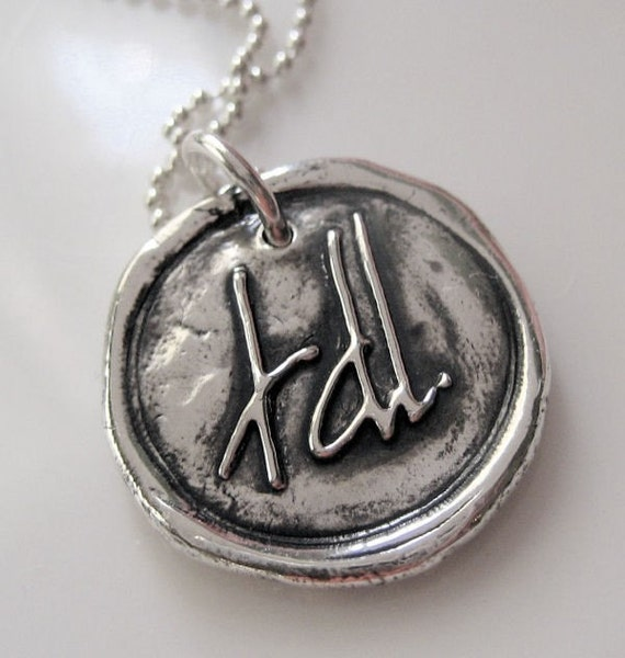 Handwritten Monogram Pendant Wax Seal Style- pure silver or sterling from your own writing