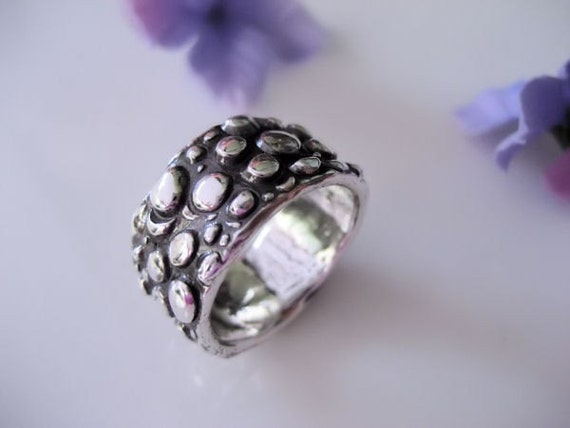 Bubbles Cigar Band Wrap Ring in Fine Silver