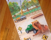 Construction Growth Chart, Canvas Growth Chart, Childrens Growth Chart, Personalized Growth Chart, Boy's Growth Chart