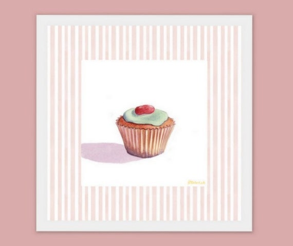 Items similar to candy cupcake nursery wall art decor 8x8 for Cupcake wall art