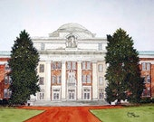 Chambers Building at Davidson College Print from the Original Watercolor by Michael Joe Moore