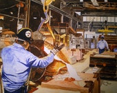 Take it Up Print from the Original Watercolor of a Foundry Worker Pouring Iron into a Sand Mold by Michael Joe Moore
