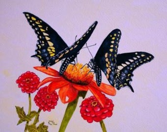Twin Butterflies Print from the Original watercolor by Michael Joe Moore