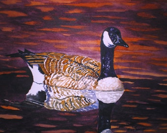 Canada Goose- LONELY- Print From the Original Watercolor by Michael Joe Moore