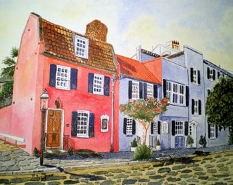 The Pink House in Charleston Print from the Original Watercolor by Michael Joe Moore
