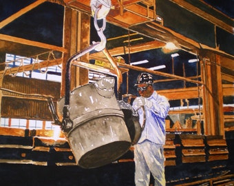 Steelers Foundry Worker Print from the Original Watercolor by Michael Joe Moore