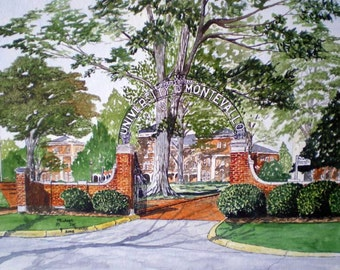 Gates of the University of Montevallo Print from the Original Watercolor by Michael Joe Moore
