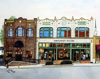 Old and New Print from the Original Watercolor of the Montgomery Building and Annex in Statesville North Carolina by Michael Joe Moore