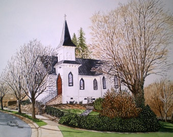 Church Portrait Winter Afternoon- Print from the Original Watercolor of the Old Episcopal Church in Elkin, NC by Michael Joe Moore