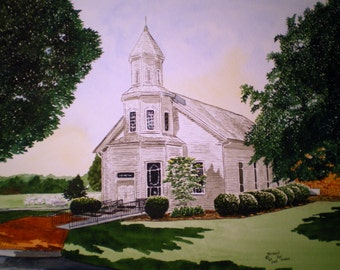 Commissioned Watercolor of Your Home Church Signed by Michael Joe Moore