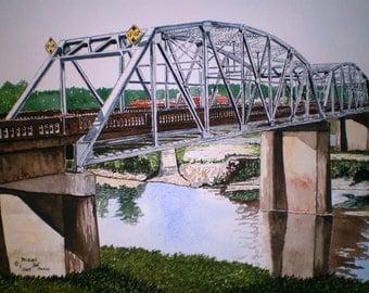 HUGH CHATHAM BRIDGE-Original Watercolor by Michael Joe Moore