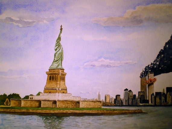 Twin Towers Painting Freedom Is Not Free - Original Watercolor by Michael Joe Moore