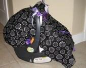 Infant Car seat canopy cover CUDDLER in Retro Dot purple black white CUTE CuTe