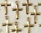 Gold Cross Charms 12 Pieces Beautifully Simple and Classic Jewelry Supplies Bulk Beads for Charm Bracelet Necklace Pendant Earring Dangles