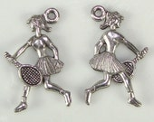 6 Tennis Player Charms Woman Tennis Player Pewter (31139) U.S. Open Tennis Match Jewelry Making Supplies for Tennis Bracelet Sport Lover