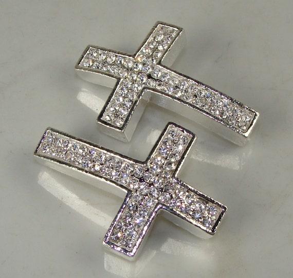 2 Pieces Rhinestone Sideways Cross Silver with Crystal for Bracelet 26mm x 40mm (42490-O) Pave Rhinestone Bracelet Bar Jewelry Supplies
