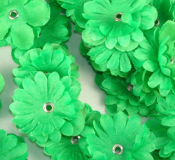 24 Fabric Flower Beads Lucky Shamrock Green (45004) Luau Jewelry Lei Necklaces Flower Bracelets Summer Jewelry Supplies Beads Girl Scouts