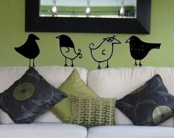 Bird Watcher - Set of 4 cute birdie wall decals