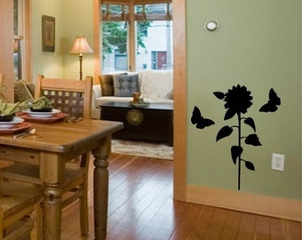 Sunflower and Butterfly vinyl wall decal graphic wall art sticker