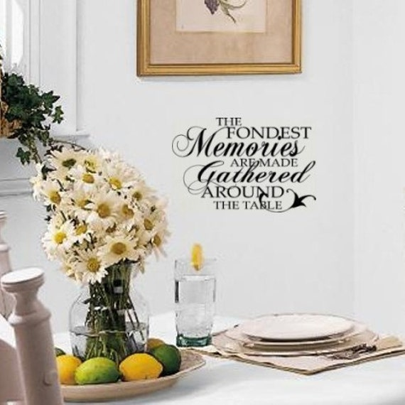 Fondest memories vinyl wall art decal lettering for kitchen or for Dining room vinyl wall art