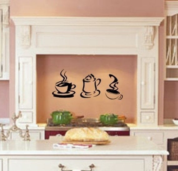 Steaming Hot Coffee kitchen wall decal vinyl sticker wall art graphic