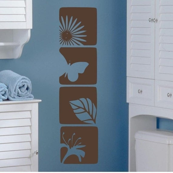 Floral Nature Squares vinyl wall decals graphic wall art - Set of 4