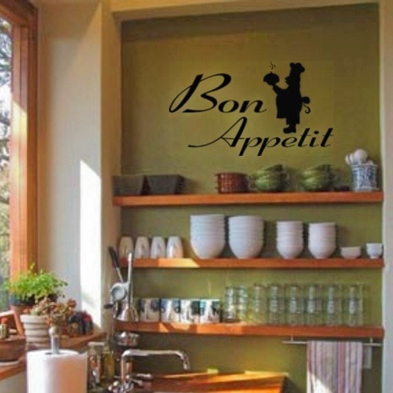 Cute Kitchen Wall Decor: BON APPETIT With Cute French Chef Wall Art Vinyl Lettering