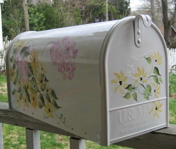Daisy and Hydrangea Hand Painted Mailbox