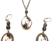 Lock Me Up - Retro Pin Up Police Woman Necklace/Earring Set