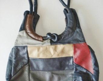 Vintage Navy Faux Leather COLORBLOCK Patchwork Purse /  Blue And Brown Color Block Handbag