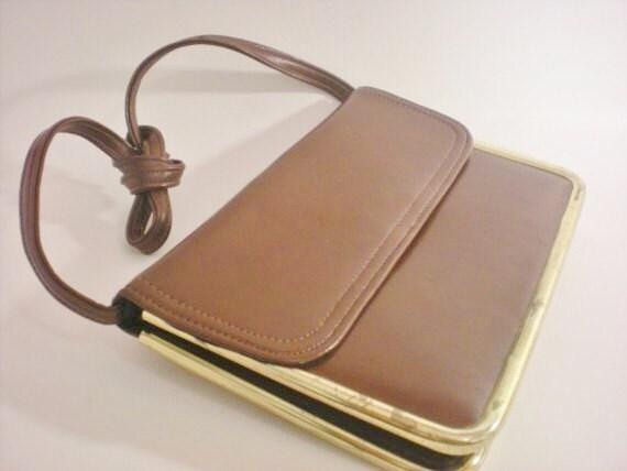 Vintage 70s Thin Brown Purse. Sleek Handbag.