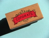 ONE DOLLAR SALE  Congrats Fancy Border Wood Mounted Rubber Stamp - Last One