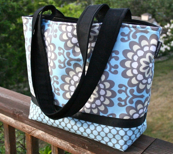 Reserved for Jeannie - LARGE TOTE - DIAPER Bag - Wallflower in Sky
